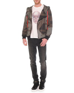 Camo-Print Asymmetric Zip Hoodie, Embossed Skull Graphic T-Shirt & Faded-Wash Stretch Denim Jeans