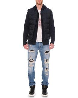 Tonal Skull-Print Jacquard Vest, Embossed Skull Graphic T-Shirt & Destroyed Denim Jeans