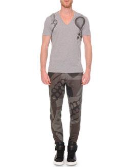 V-Neck Printed Tee & Woven Camo-Print Sweatpants