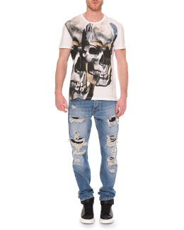 Double-Skull Graphic T-Shirt & Destroyed Denim Jeans