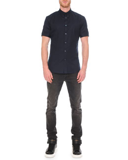 Short-Sleeve Button-Down Shirt & Faded-Wash Stretch Denim Jeans