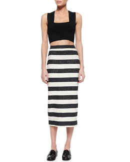 Ali Sleeveless Knit Crop Top & Guy Striped Pencil Midi Skirt
