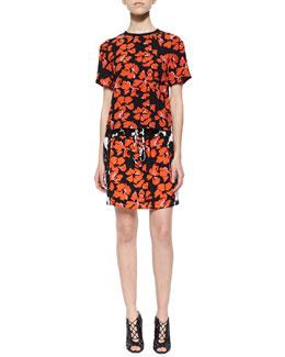 Joan Floral-Print Silk Top & Nicholson Floral-Print Drawstring Skirt