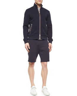 Full-Zip Cotton Track Jacket & Jersey Drawstring Track Shorts