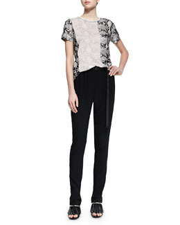 Short-Sleeve Two-Tone Python-Print Tee & Belted Crepe Track Pants