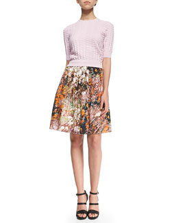Relief Textured Knit Sweater & Forest-Print Pleated Poplin Skirt