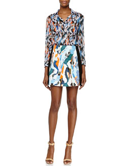 Sheer Printed Cotton Blouse & Printed/Solid Cady A-Line Skirt