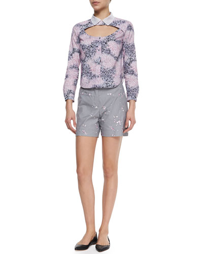 Poplin Petal-Print Open-Yoke Top & Floral-Embroidered Houndstooth Shorts