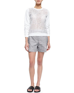 Perforated-Front Long-Sleeve Sweater & Floral-Embroidered Houndstooth Shorts