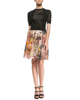 Ribbed Perforated Knit Pullover Sweater & Forest-Print Pleated Poplin Skirt