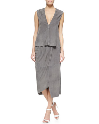 Tibi Sleeveless Feather Weight Suede Top & Suede Feather Weight Wrap Skirt