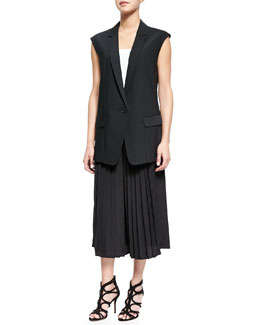 Simone Silk Relaxed Vest & Pleated Culottes