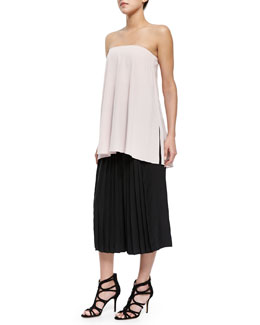 Simone Silk Trapeze Corset Top & Pleated Culottes