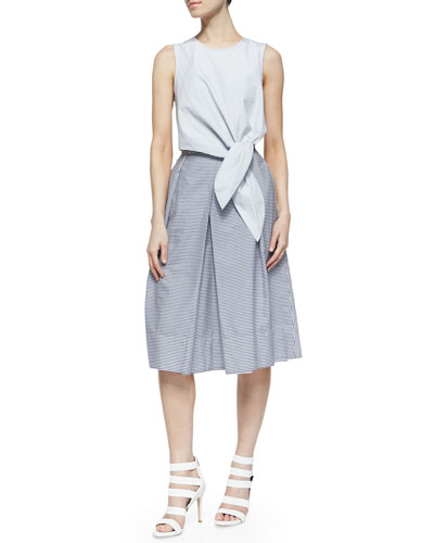 Stripe Shirting Crop Tie Top & Striped Shirting Skirt