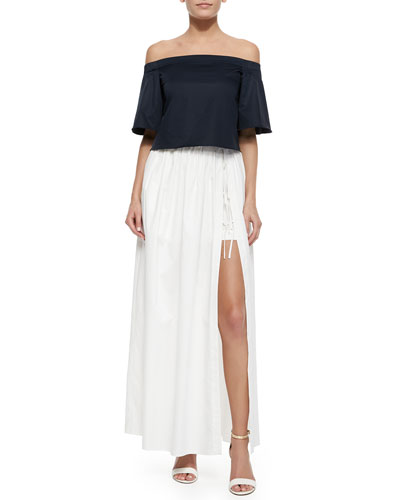 Satin Off-The-Shoulder Top & Full-Length Skirt with Shorts