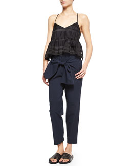Striped Organza Racerback Top & Seersucker Bow-Front Jogging Pants