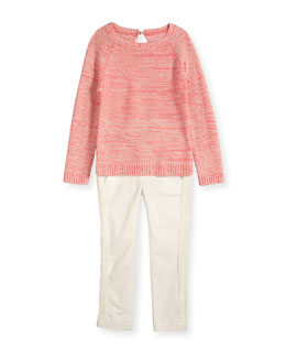 Long-Sleeve Raglan Sweater & Pleated Gabardine Pants
