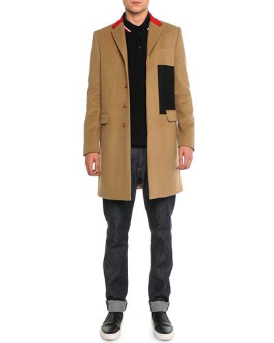 Color Block Wool Topcoat, Cuban Short-Sleeve Polo & Raw Slim Denim Jeans