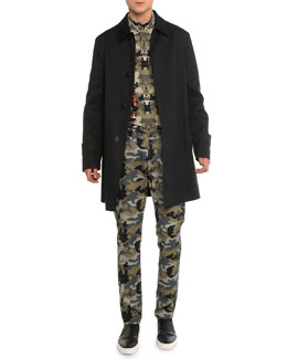 Mac Leather Trench Coat, Camo-Print Long-Sleeve Shirt & Camo-Printed Denim Pants
