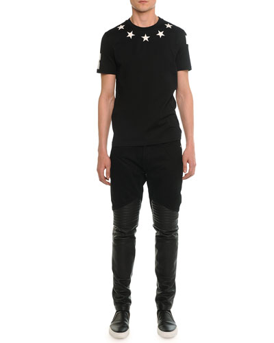 Star-Print Collared Cuban Tee & Denim Pants with Leather Trim