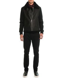 Shearling Fur & Neoprene Zip-Up Jacket, Plaid Woven Shirt with Star-Detail & Slim Denim Pants