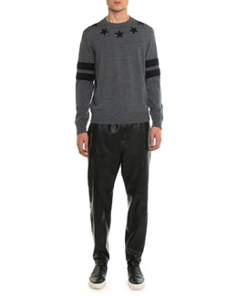 Crew-Neck Star Sweatshirt & Leather Jogger Pant