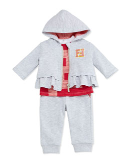 Ruffle Hoodie, Striped Tee & Jog Pants, Light Gray/Orange, Size 3-24 Months