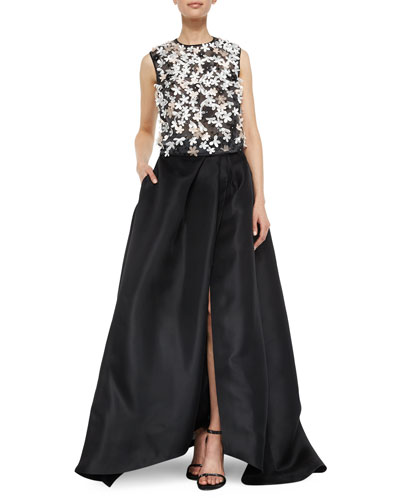 Floral-Embroidered Tulle Top & Side-Slit Gazar Ball Skirt