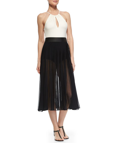 Two-Tone Halter One-Piece & Classic Pleated Chiffon Skirt