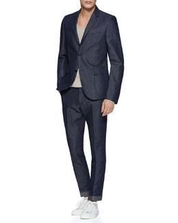 Dylan 60's Cotton/Linen Denim Jacket, Rib Silk-Knitted Tank Top & Denim Flare Pant