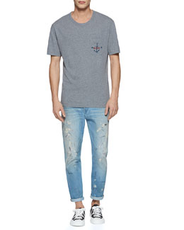 Cotton Jersey Tee with Anchor Print Pocket & Hand-Painted Bleach-Washed 1953 Jeans