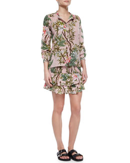 Wescott Floral-Print Henley Blouse, Wilma Floral-Print Tiered Skirt & Double-Buckle Flame Flat Sandal