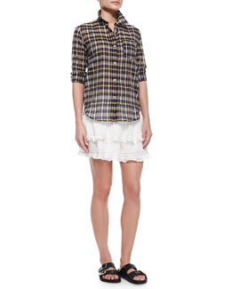 Flynn Plaid Voile Blouse, Connie Smocked Tiered Skirt & Double-Buckle Flame Flat Sandal