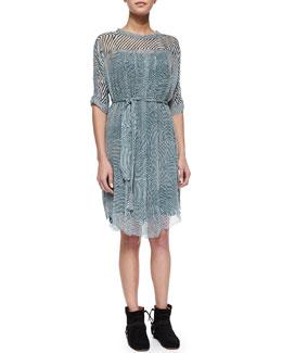 Danbury Ripple-Striped Shirtdress & Suede Side-Zip Bootie