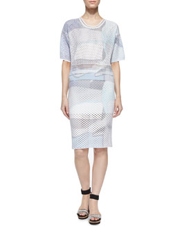 Paper-Print Perforated Top & Skirt