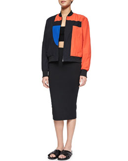 T-Logo Tech Poplin Bomber Jacket, Ribbed Ponte Cross-Back Crop Top & Luxe Ponte Long Pencil Skirt