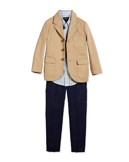 Three-Button Sport Coat, Blake Striped Oxford Shirt & Chevron-Knit Linen Preppy Shorts