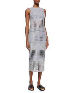 Sleeveless Netted Knit Top & Netted Long Fitted Jersey Skirt