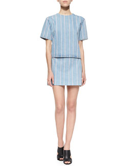 Short-Sleeve Striped Denim Top & Woven Striped Denim Miniskirt
