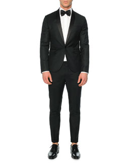 Beverly-Fit Pindot Tuxedo Jacket & Tokyo-Fit Wool-Blend Pants