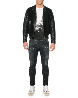 Leather/Wool Moto Bomber Jacket, Short-Sleeve Crow-Graphic T-Shirt & Distressed Slim Moto Denim Jeans