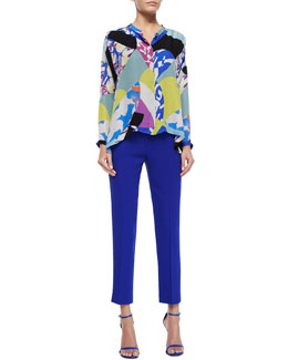 Abstract-Print Henley Blouse & Cady Slim-Fit Cropped Pants