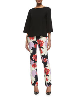 Bell-Sleeve Crepe Blouse & Floral-Print Skinny Flared Pants