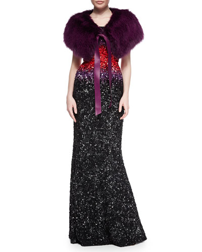 Fox Fur Stole w/ Leather Tie & Strapless Ombre Beaded Gown