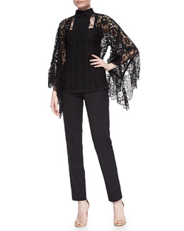 Lace Pagoda-Sleeve Blouse & Lace Tuxedo-Striped Slim Ankle Pants