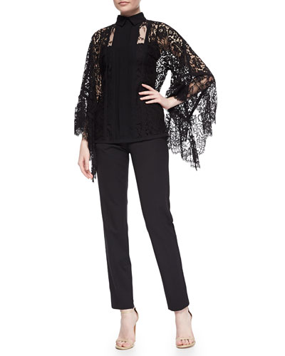 Lace Pagoda-Sleeve Blouse & Lace Tuxedo-Striped Slim Ankle Pants