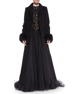 Fox Fur-Trimmed Beaded Coat & Beaded Contrast Tulle Gown