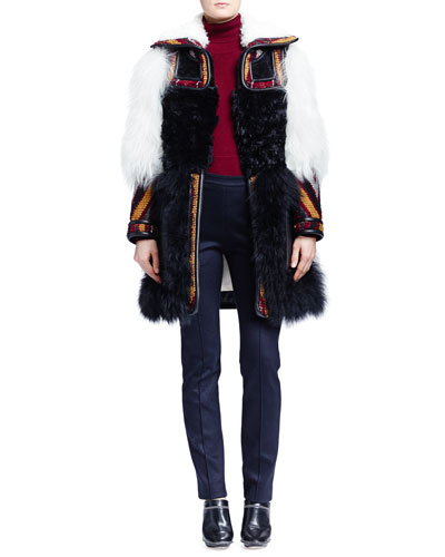 Persian Tapestry Shearling Coat, Cashmere Round-Hem Sweater & Skinny Jersey Ankle Pants
