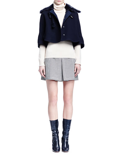 Fur-Trimmed Toggle Cape, Cashmere Ribbed-Knit Turtleneck Sweater & Houndstooth Split-Front Skirt