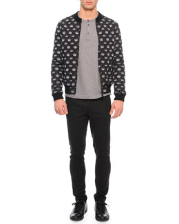 Crown-Print Quilted Zip Jacket, Short-Sleeve Knit Henley Tee & Drawstring Jogger Pants